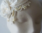 ivory bridal beaded lace hair accessory  hand made flowers