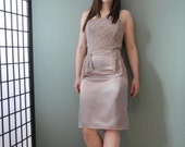 Dusty Rose Satin Dress with Lace Bodice and Peplum Size 6
