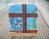 Tiny Cat painting, Ghost Kitty, Window Kitty Series, Original Cat Painting, Cat Painting