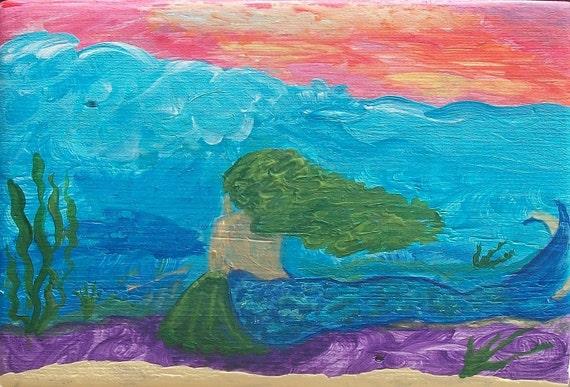A Mermaids Prayer, Original Painting, Mermaid Painting, Under the Sea