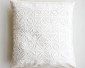 Organic Beautiful Handmade Applique White Pillow or Cushion Cover - 16 x 16