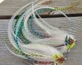 White RAINBOW Bright NEON Fluorescent Eurohackle Long Feather Earrings Jewelry Grizzly Rooster Pheasant blue purple yellow green orange pink