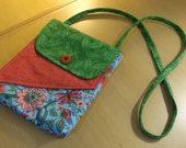 Floral, Coral, and Green Hip Purse / Cross Body Bag
