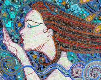 SOLD -  mosaic, wall art,  A Kiss On the wind