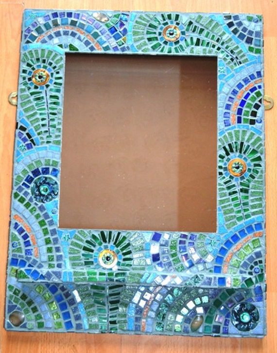 mosaik spiegel mosaikkunst pfauenfeder. Black Bedroom Furniture Sets. Home Design Ideas