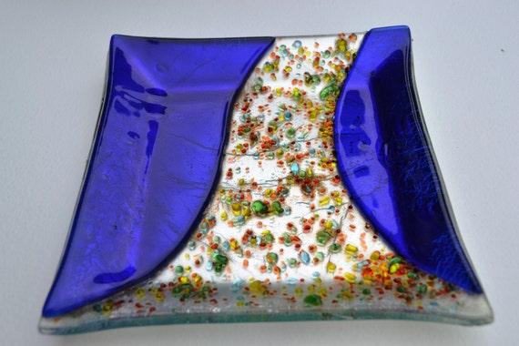 Fused glass, Blue silver leaf, Glass Dish