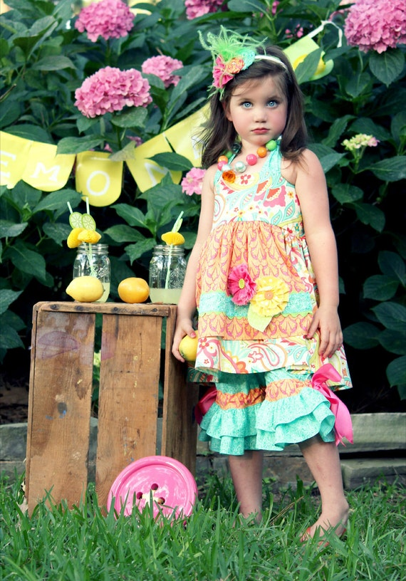 Apron knot top and capri pants with double ruffles in fun summer colors sizes 2t to 8