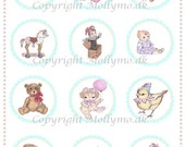 INSTANT DOWNLOAD Digital Collage sheet Vintage baby girl with handdrawn illustrations NO CG0013