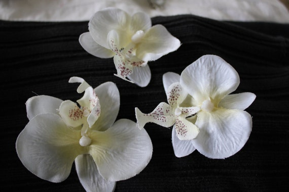 Pack of 3 Artificial orchid  heads, Scrapbooking, Headpieces, Wedding, Craft