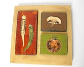 FARMERS MARKET COLLAGE on reclaimed wood-rustic-rusty red, moss green, umber brown