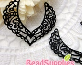 CH-ME-01193- Black enameled, Heart with filigree wings, 2 pcs