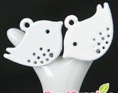 CH-ME-01101- Nickel Free Colored Enameled Petite Bird, white, 4 pcs