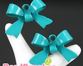 CH-ME-01125- Nickel Free Colored Enameled ribbon charm, turquoise blue, 12 pcs