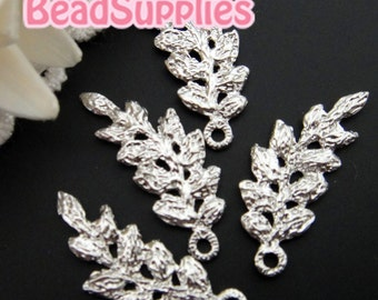 CH-ME-09165- Silver plated, Lace charm/connector, feuille, 4 pcs
