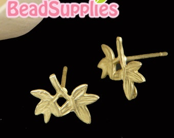 FN-ER-02023-  Matted gold plated, Petit leaf earwaire, 4 pairs