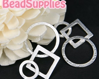 CH-ME-09096-Matted silver plated, Interlocking circles & square, 4 pcs
