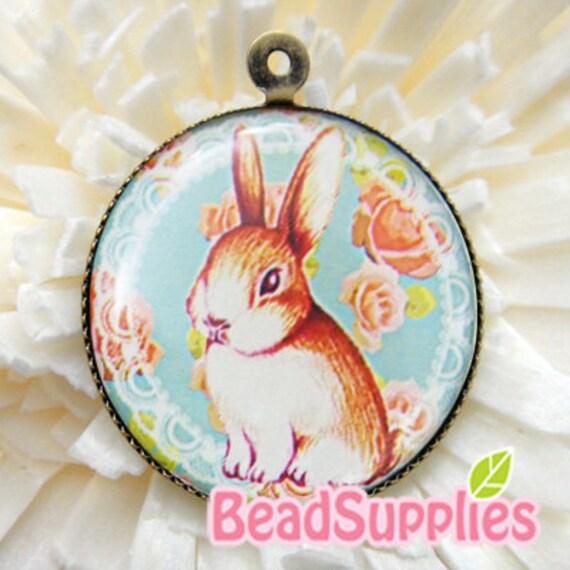 CM-RO-02105 - Round Cameo pendant - Rabbit with rose background  (antique brass setting) 2 pcs