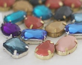 gorgeous lot of 33 cabochons - rectangle teardrop oval resin and glass - FREE SHIPPING
