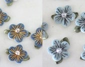 18 light blue and cornflower blue felt flowers applique with iridescent bead FREE SHIPPING