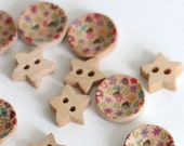 24 star and colorful circle wooden buttons FREE SHIPPING