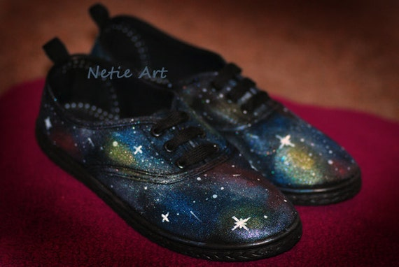 Hand PAINTED galaxy lace up shoes