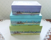 Set of Three Pastel Wood Stacking Boxes Beach Decor