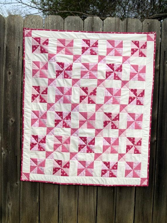 Pink Baby Quilt In Vintage Pinwheel Pattern