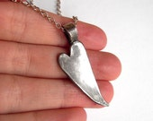CUSTOM MADE Long Silver Heart Necklace