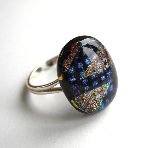 Fused Glass Squares and Triangles Adjustable Ring