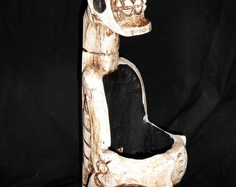 Handmade Wooden Skeleton Pirate Wine Bottle Holder