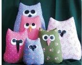 Owl pattern, nursery decor pattern, easy sewing, soft owl doll, kids sewing pattern, beanbag owl