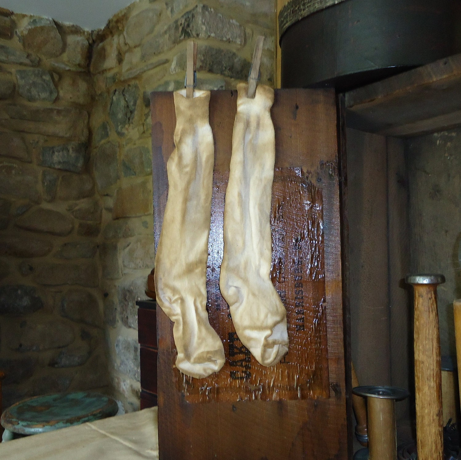 Laundry Room decor old looking primitive stockings by RaggedyRee
