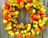 Yellow and Orange Tulip Wreath, Spring Wreath, Summer Wreath, Outdoor Wreath, Grapevine Wreath, Mother's Day