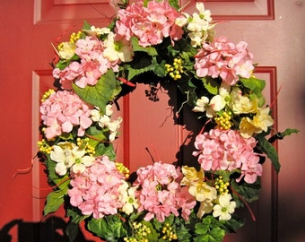 Pink Hydrangea Wreath, Spring Wreath, Front Door Wreath, Grapevine Wreath, Summer Wreath, Outdoor Wreath, Mother's Day, Easter, Spring Decor