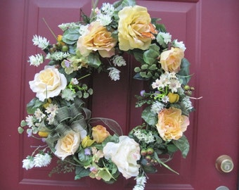 Yellow Rose Wreath,  Summer Wreath, Front Door Wreath, Spring Wreath, Mother's Day