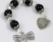 Gratitude Beads, Dragonfly with Black Beads