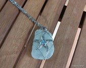 Sea glass wire wrapped pendant necklace with silver star fish charm, beach jewelry