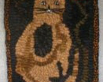 PrimiTive Folkart Scrappy Hooked Rug Cat with Flowers Hit or Miss