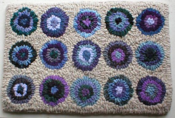 Purples & Blues PrimiTive Folkart Penny Hooked Rug From BeaconHillCollectibles HooKed Rugs