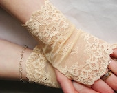 French wedding, Antique Ivory or Pale Peach lace fingerless gloves, Wedding,  Bridal ,Victorian, Vampire,Cuff, Altered couture, Steampunk