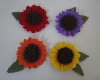 Colorful gerbera flowers, set of 4 felt hair clips, same color or mix & match