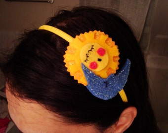 Sleepy lullaby headband, felt with glitter