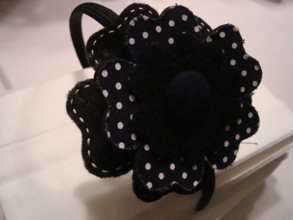 poka dot black and white headband