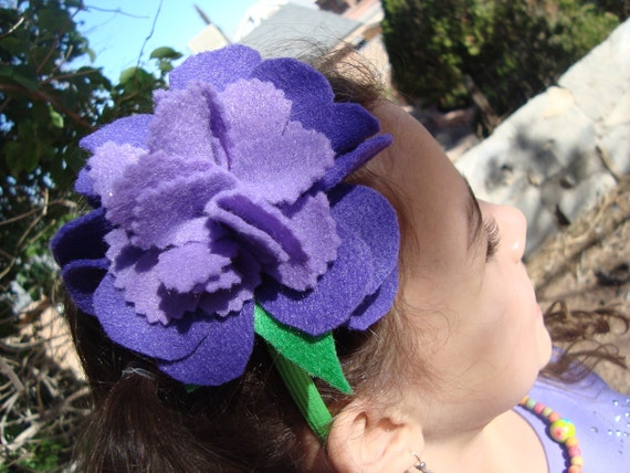 Purple and violet flower head band