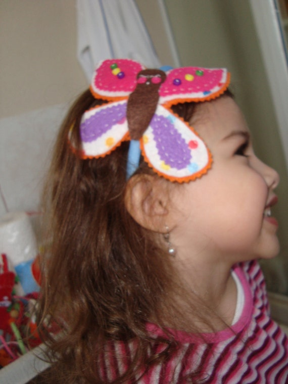 Colorful felt butterfly headband. Made to order