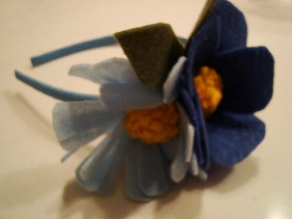 Blue daisy and peony headband, Felt Flowers For Women, Children And Babies