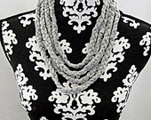 T shirt Scarf, Boho, Braided Necklace, Gray Scarf, Summer Scarf