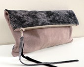 Distressed Black Leather and Mauve Suede Clutch