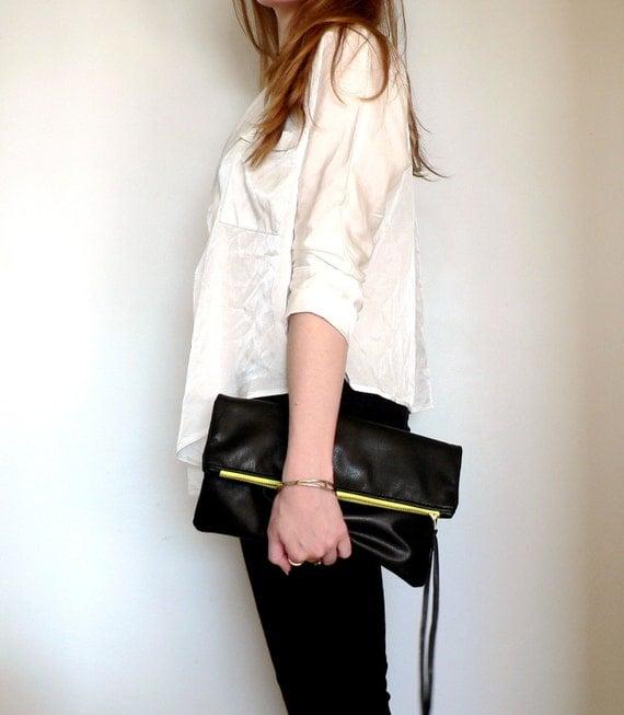 Glossy Black Leather Neon Zipper Clutch