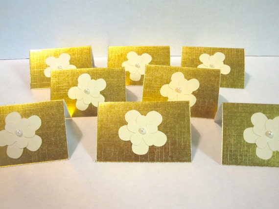 Gold Mini Note Cards Set of 12 White Flowers